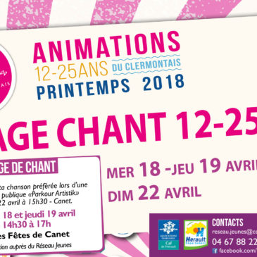 Stage de CHANT 12-25 ans avril 2018