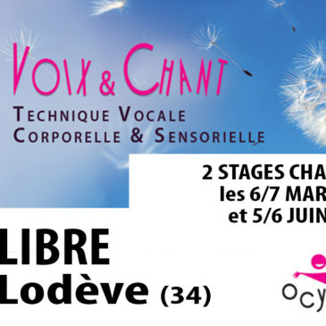 2 stages CHANT à PRIX LIBRE à Lodève